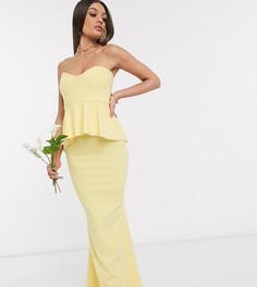Платье лимонного цвета с баской Missguided Petite bridesmaid-Желтый