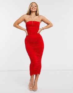 Красное платье миди со сборками AX Paris-Красный