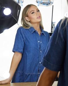 Синее свободное джинсовое платье ярусного кроя Missguided-Синий