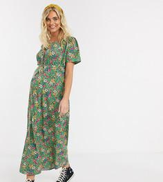 Зеленое чайное платье макси с цветочным принтом Mamalicious Maternity-Зеленый Mama.Licious