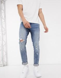 Синие потертые джинсы скинни New Look-Синий