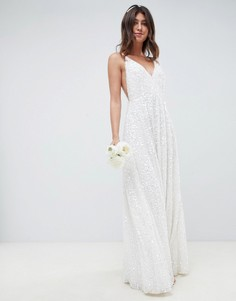 Свадебное платье на бретельках с пайетками ASOS EDITION-Мульти