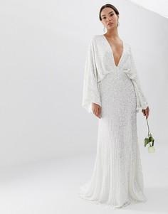 Свадебное платье с широкими рукавами и пайетками ASOS EDITION-Белый