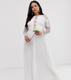 Свадебное платье с кружевом и плиссировкой ASOS EDITION Curve-Белый