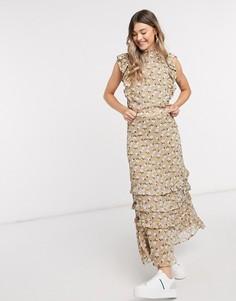 Бежевая шифоновая юбка макси с цветочным принтом от комплекта Y.A.S-Мульти