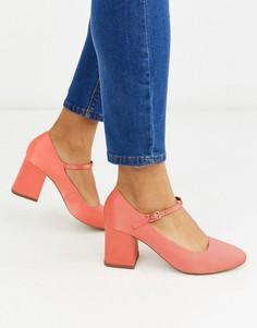 Туфли Мэри Джейн кораллового цвета на среднем каблуке ASOS DESIGN-Оранжевый