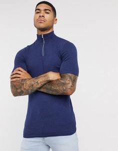 Темно-синяя трикотажная футболка с короткой молнией ASOS DESIGN-Темно-синий