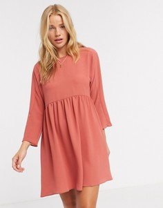 Свободное платье мини терракотового цвета с длинными рукавами ASOS DESIGN-Розовый