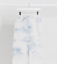 Джинсовая юбка миди с разрезом COLLUSION-Синий