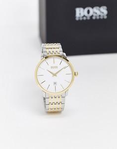 Классические премиум-часы с двухцветной отделкой Boss-Серебряный