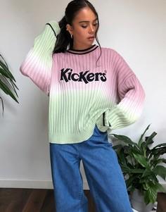 Свободный джемпер сэффектом омбре и логотипом Kickers-Розовый
