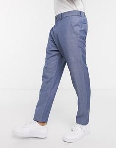 Синие льняные укороченные брюки Esprit-Синий