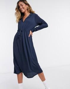 Темно-синее платье с запахом и длинными рукавами JDY-Темно-синий