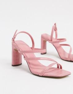 Розовые туфли на каблуке с ремешками Bershka-Розовый
