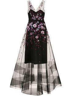 Marchesa Notte вечернее платье из тюля с цветочной отделкой