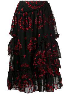 Simone Rocha ярусная юбка с цветочной вышивкой