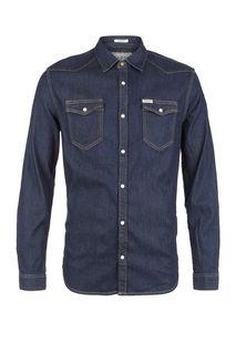 Синяя джинсовая рубашка на кнопках Guess