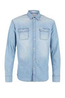 Синяя джинсовая рубашка на пуговицах Guess