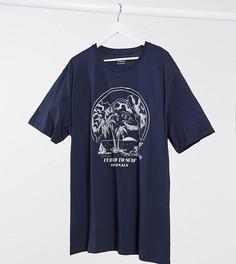 Темно-синяя футболка с принтом Jack & Jones Originals-Темно-синий
