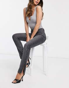 Серо-черные джинсы прямого кроя с завышенной талией и разрезами Femme Luxe-Черный