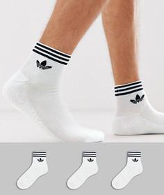 Набор из 3 пар белых носков до щиколотки adidas Originals-Белый