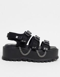 Черные сандалии на массивной подошве с цепочками Koi Footwear-Черный