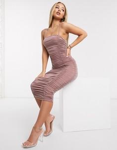 Бежевое платье миди со сборками AX Paris-Розовый