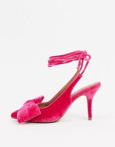 Розовые бархатные туфли на среднем каблуке с бантом и завязкой ASOS DESIGN-Розовый