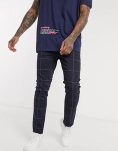 Темно-синие джинсы скинни в клетку ASOS DESIGN-Темно-синий