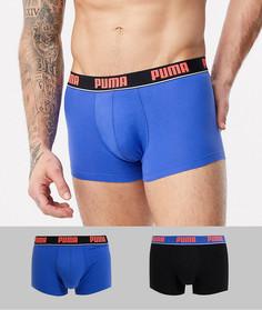 Набор из 2 боксеров-брифов с контрастным поясом с логотипом Puma-Синий