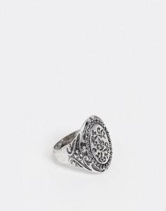 Серебристое кольцо-печатка с гравировкой Reclaimed Vintage inspired-Серебряный