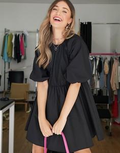 Черное хлопковое платье мини из поплина ASOS DESIGN-Черный