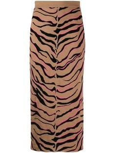 Stella McCartney трикотажная юбка с зебровым принтом