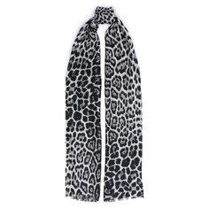 Шелковый шарф с леопардовым принтом Saint Laurent