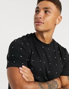 Черная футболка со стразами ASOS DESIGN-Черный