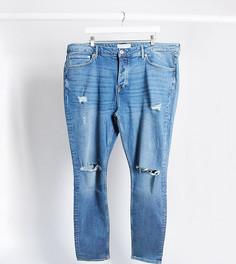 Синие джинсы скинни с рваной отделкой Topman Big & Tall-Синий