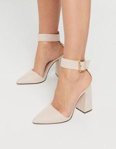Бежевые туфли на блочном каблуке Qupid-Бежевый