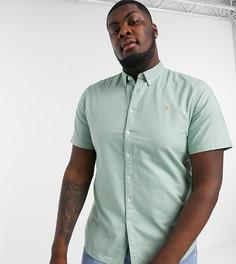 Зеленая оксфордская рубашка узкого кроя с короткими рукавами Farah Brewer-Зеленый
