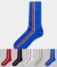 5 пар спортивных носков с разноцветными полосками ASOS DESIGN-Мульти