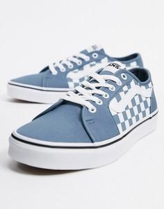 Сине-белые кроссовки в шахматную клетку Vans-Синий