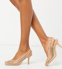 Бежевые сетчатые туфли на каблуке с квадратным носком Z_Code_Z-Бежевый