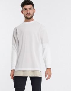Белый длинный oversized-лонгслив ASOS DESIGN-Бежевый