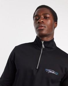 Черныйoversized-джемперс высоким воротникоми логотипом Topman