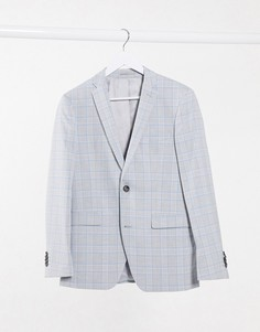 Зауженный пиджак в голубую и серую клетку Esprit-Серый