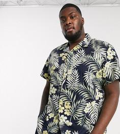 Темно-синяя рубашка с отложным воротником, короткими рукавами и гавайским принтом Jack & Jones Originals-Темно-синий