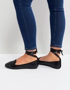 Черные туфли на плоской подошве с завязкой на щиколотке RAID-Черный