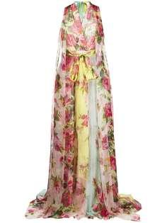 Blumarine вечернее платье макси с цветочным принтом