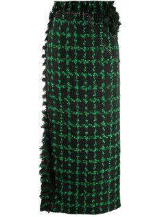 Loulou клетчатая юбка с бахромой