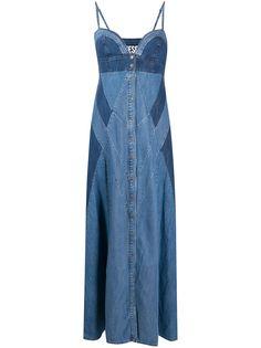 Diesel джинсовое платье макси с контрастными вставками