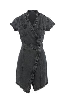 Серое джинсовое платье с запахом Love Republic